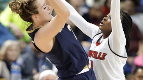 Notre Dame's Marina Mabrey, left, tries to shoot over Louisville's Dana Evans, right, during the first half of an NCAA college basketball game in the championship of the women's Atlantic Coast Conference tournament in Greensboro, N.C., Sunday, March 4, 2018. (AP Photo/Chuck Burton)