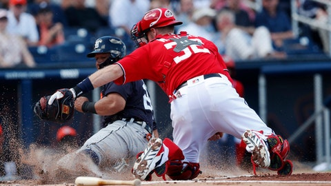 Detroit Tigers' Miguel Cabrera (24) is tagged out by Washington Nationals catcher Matt Wieters (32) as he tries to score on a Jim Adduci base hit in the first inning of a spring training baseball game, Sunday, March 4, 2018, in West Palm Beach, Fla. (AP Photo/John Bazemore)