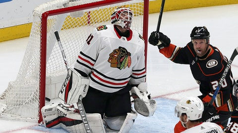 Anaheim Ducks left winger Jason Chimera (20) celebrates a goal by defenseman Marcus Pettersson (not shown) past Chicago Blackhawks goalie Anton Forsberg (31) in the second period of an NHL hockey game in Anaheim, Calif., Sunday, March 4, 2018. (AP Photo/Reed Saxon)