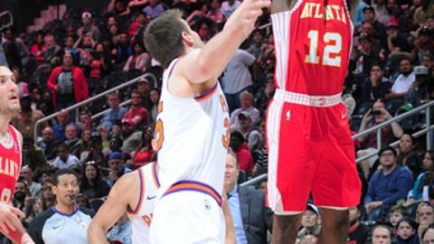 ATLANTA, GA - MARCH 4: Taurean Prince #12 of the Atlanta Hawks hits the game winning shot against the Phoenix Suns on March 4, 2018 at Philips Arena in Atlanta, Georgia. (Photo by Scott Cunningham/NBAE via Getty Images)