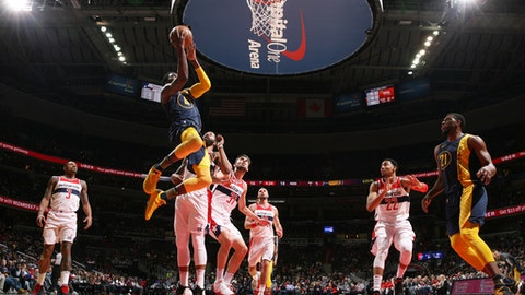 WASHINGTON, DC - MARCH 4:  Victor Oladipo #4 of the Indiana Pacers drives to the basket against the Washington Wizards on March 4, 2018 at Capital One Arena in Washington, DC. (Photo by Ned Dishman/NBAE via Getty Images)
