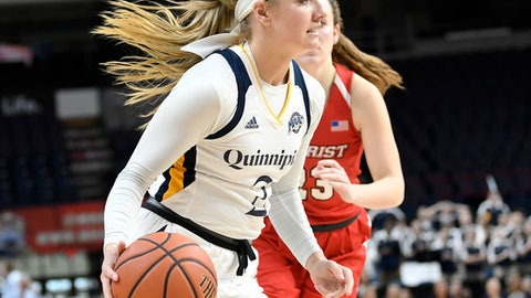 Quinnipiac guard Taylor Herd (2) moves the ball in front of Marist guard Rebekah Hand (23)during the first half of an NCAA college basketball game in the championship of the Metro Atlantic Athletic Conference women's tournament Monday, March 5, 2018, in Albany, N.Y. (AP Photo/Hans Pennink)