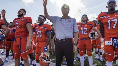 """<p>(STATS) - Sam Houston State has a late start to the 2018 season, but the Bearkats know they have to be ready once the games begin.</p><p>The 11-game schedule which was announced Monday is front-loaded with some of the Bearkats' tougher opponents.</p><p>Sam Houston will have a bye in the first full weekend of the season and won't play its opener until hosting Prairie View A&M on Sept. 8. A week later, North Dakota will visit Huntsville, Texas, on Sept. 15.</p><p>The rest of the games are in the Southland, beginning against the Bearkats' two fellow 2017 FCS playoff teams - at Nicholls on Sept. 22 and home versus defending champion Central Arkansas on Sept. 29.</p><p>Because Sam Houston's Oct. 6 game against rival Stephen F. Austin in the """"Battle of the Piney Woods"""" is a home game at a neutral site - NRG Stadium in Houston - the Bearkats will have only two other games at Bowers Stadium: Southeastern Louisiana (Oct. 27) and Abilene Christian (Nov. 10).</p><p>""""We are going to have to make our hay early and then go be road warriors the rest of the season,"""" fifth-year coach K.C. Keeler said. """"Obviously we have been very good at Bowers, but to be a championship-caliber team, you have to go beat good teams on the road.""""</p><p>Sam Houston finished 12-2 and ranked No. 4 in the FCS while reaching the national semifinals for the fifth time in seven years last season. The Bearkats won't face an FBS opponent for the third straight season.</p><p>---=</p><p>2018 Sam Houston State Schedule</p><p>Sept. 8, Prairie View A&M</p><p>Sept. 15, North Dakota</p><p>Sept. 22, at Nicholls*</p><p>Sept. 29, Central Arkansas*</p><p>Oct. 6, Stephen F. Austin* (NRG Stadium in Houston)</p><p>Oct. 13, at Northwestern State*</p><p>Oct. 20, at Lamar*</p><p>Oct. 27, Southeastern Louisiana* (Homecoming)</p><p>Nov. 3, at Incarnate Word*</p><p>Nov. 10, Abilene Christian*</p><p>Nov. 17, at Houston Baptist*</p><p>* - Southland Conference game</p>"""