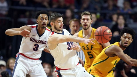 Gonzaga's Killian Tillie (33) passes during the first half of a West Coast Conference tournament NCAA college basketball game against San Francisco, Monday, March 5, 2018, in Las Vegas. (AP Photo/Isaac Brekken)