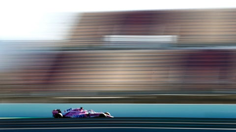 Force India drivers Sergio Perez of Mexico steers his car during a Formula One pre-season testing session in Montmelo, outside Barcelona, Spain, Tuesday, March 6, 2018. (AP Photo/Manu Fernandez)