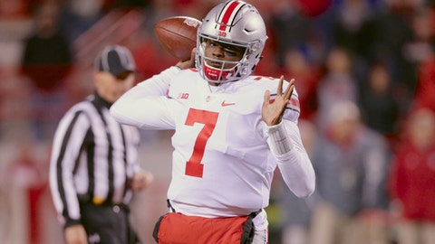 Ohio State quarterback Dwayne Haskins (7) throws during the second half of an NCAA college football game against Nebraska in Lincoln, Neb., Saturday, Oct. 14, 2017. Ohio State won 56-14. (AP Photo/Nati Harnik)