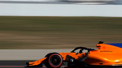 McLaren driver Fernando Alonso of Spain steers his car during a Formula One pre-season testing session in Montmelo, outside Barcelona, Spain, Wednesday, March 7, 2018. (AP Photo/Manu Fernandez)