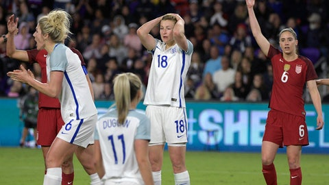 England's Millie Bright (6), Toni Duggan (11) and Ellen White (18) and United States midfielder Morgan Brian (6), right, react after England missed a shot on goal during the second half of a SheBelieves Cup women's soccer match Wednesday, March 7, 2018, in Orlando, Fla. The United States won 1-0. (AP Photo/Phelan M. Ebenhack)