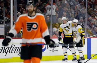 Sheary, Crosby lead Penguins past Flyers and into 1st place