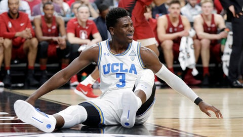 UCLA's Aaron Holiday reacts to a call during the first half of an NCAA college basketball game against Stanford in the quarterfinals of the Pac-12 tournament Thursday, March 8, 2018, in Las Vegas. (AP Photo/Isaac Brekken)