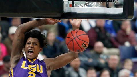LSU's Brandon Rachal (2) dunks during the second half in an NCAA college basketball game against the Mississippi State at the Southeastern Conference tournament Thursday, March 8, 2018, in St. Louis. (AP Photo/Jeff Roberson)