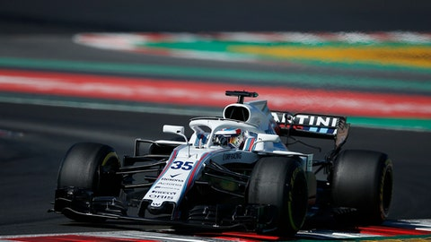 Williams driver Sergey Sirotkin of Russia steers his car during a Formula One pre-season testing session in Montmelo, outside Barcelona, Spain, Friday, March 9, 2018. (AP Photo/Manu Fernandez)