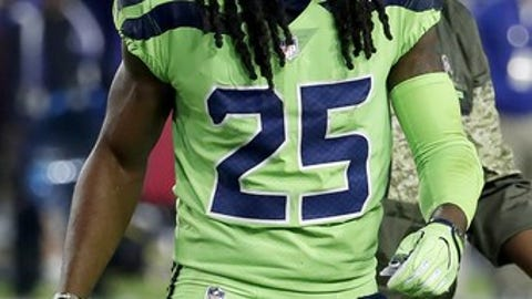 Seattle Seahawks cornerback Richard Sherman (25) leaves the game after an injury during the second half of an NFL football game, Thursday, Nov. 9, 2017, in Glendale, Ariz. Sherman did not return to the game. (AP Photo/Rick Scuteri)