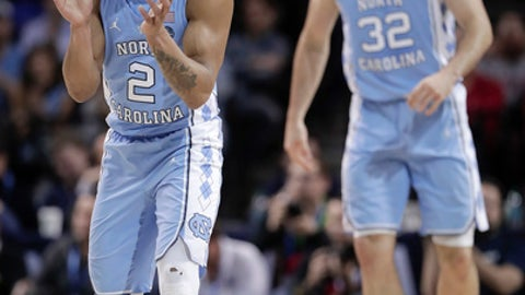 North Carolina guard Joel Berry II (2) reacts during the first half of the team's NCAA college basketball game against Duke in the Atlantic Coast Conference men's tournament Friday, March 9, 2018, in New York. (AP Photo/Julie Jacobson)
