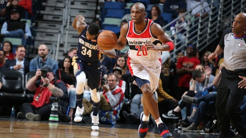 NEW ORLEANS, LA - MARCH 9:  Jodie Meeks #20 of the Washington Wizards handles the ball against the New Orleans Pelicans on March 9, 2018 at Smoothie King Center in New Orleans, Louisiana. (Photo by Layne Murdoch Jr./NBAE via Getty Images)