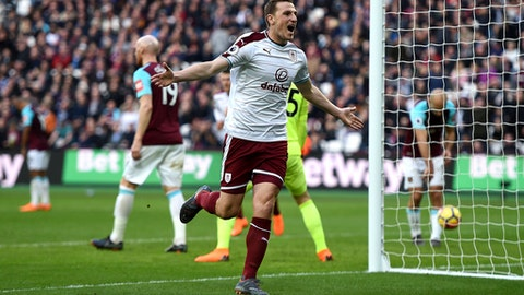 Burnley's Chris Wood celebrates scoring his side's second goal of the game against West Ham during their English Premier League soccer match at the London Stadium in London, Saturday, March 10, 2018. (Daniel Hambury/PA via AP)
