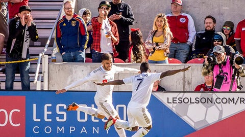 Los Angeles FC forwards Diego Rossi (9) and Latif Blessing (7) celebrate Rossi's goal against Real Salt Lake during an MLS soccer match at Rio Tinto Stadium in Sandy, Utah, Saturday March 10, 2018. LAFC won 5-1. (Trent Nelson/The Salt Lake Tribune via AP)