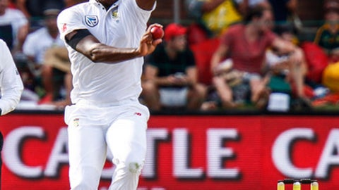 South Africa's Kagiso Rabada bowls on the third day of the second cricket test between South Africa and Australia at St. George's Park in Port Elizabeth, South Africa, Sunday, March 11, 2018. (AP Photo/Michael Sheehan)