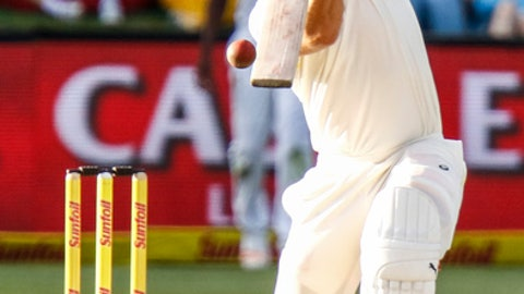 Australia's Mitchell Marsh at the wicket on the third day of the second cricket test between South Africa and Australia at St. George's Park in Port Elizabeth, South Africa, Sunday, March 11, 2018. (AP Photo/Michael Sheehan)