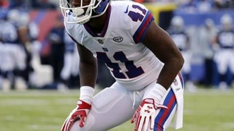 New York Giants cornerback Dominique Rodgers-Cromartie during an NFL football game against the Dallas Cowboys at MetLife Stadium in East Rutherford, NJ, Sunday, Dec. 10, 2017. (Winslow Townson/AP Images for Panini)