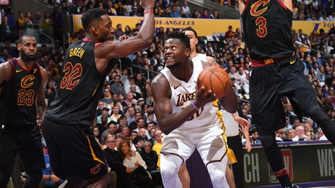 LOS ANGELES, CA - MARCH 11: Julius Randle #30 of the Los Angeles Lakers handles the ball against the Cleveland Cavaliers on March 11, 2018 at STAPLES Center in Los Angeles, California. (Photo by Andrew D. Bernstein/NBAE via Getty Images)