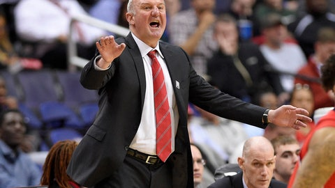 "FILE - In this March 8, 2017, file photo, Ohio State head coach Thad Matta gestures during the second half of an NCAA college basketball game in the Big Ten tournament against Rutgers, in Washington. Matta is out as coach of Ohio State after 13 seasons. Matta said Monday, June 5, 2017,  it was a ""mutually agreed"" decision. (AP Photo/Nick Wass, File)"