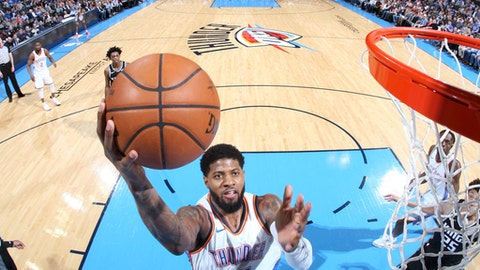 OKLAHOMA CITY, OK - MARCH 12: Paul George #13 of the Oklahoma City Thunder goes to the basket against the Sacramento Kings on March 12, 2018 at Chesapeake Energy Arena in Oklahoma City, Oklahoma. (Photo by Layne Murdoch/NBAE via Getty Images)