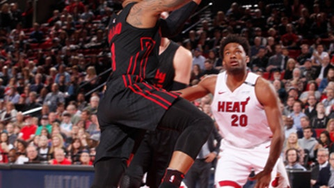 PORTLAND, OR - MARCH 12: Damian Lillard #0 of the Portland Trail Blazers goes to the basket against the Miami Heat on March 12, 2018 at the Moda Center in Portland, Oregon. (Photo by Cameron Browne/NBAE via Getty Images)