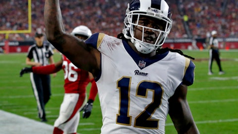 Los Angeles Rams wide receiver Sammy Watkins (12) scores a touchdown against the Arizona Cardinals during the second half of an NFL football game, Sunday, Dec. 3, 2017, in Glendale, Ariz. (AP Photo/Ross D. Franklin)