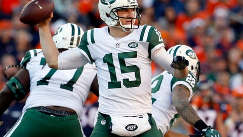 FILE - In this Dec. 10, 2017, file photo, New York Jets quarterback Josh McCown (15) throws against the Denver Broncos during the first half of an NFL football game Denver. The Jets and quarterback McCown have agreed on a one-year deal, McCowns agent Mike McCartney announced Tuesday, March 13, 2018, on Twitter.  (AP Photo/Joe Mahoney, File)