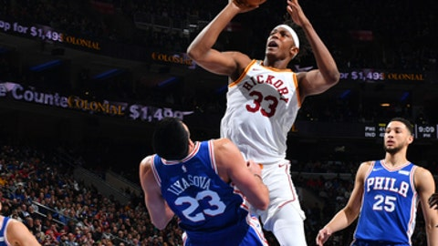 PHILADELPHIA, PA -  MARCH 13: Myles Turner #33 of the Indiana Pacers goes up for the shot against the Philadelphia 76ers at the Wells Fargo Center on March 13, 2018 in Philadelphia, Pennsylvania (Photo by Jesse D. Garrabrant/NBAE via Getty Images)