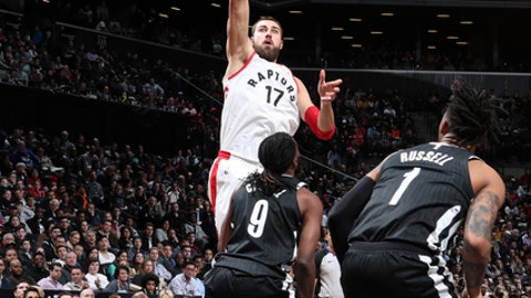BROOKLYN, NY - MARCH 13:  Jonas Valanciunas #17 of the Toronto Raptors shoots the ball against the Brooklyn Nets on March 13, 2018 at Barclays Center in Brooklyn, New York. (Photo by Nathaniel S. Butler/NBAE via Getty Images)