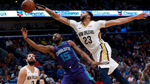 NEW ORLEANS, LA - MARCH 13:  Anthony Davis #23 of the New Orleans Pelicans blocks Kemba Walker #15 of the Charlotte Hornets during the second half  of a NBA game at the Smoothie King Center on March 13, 2018 in New Orleans, Louisiana. (Photo by Sean Gardner/Getty Images)