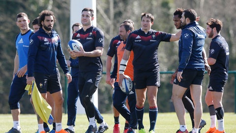 France's rugby union players (L to R) : Remy Grosso, Yoan Huget, Geoffrey Palis, Franois Trinh-Duc, Benjamin Fall, Geoffrey Doumayrou and Maxime Machenaud take part in a training session at the National Rugby Center in Marcoussis, south of Paris, France, Wednesday, March 14, 2018. Wales will play France during their Six Nations tournament match at Principality stadium in Cardiff on Saturday March 17, 2018. (AP Photo/Michel Euler)