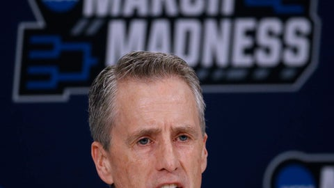 Pennsylvania head coach Steve Donahue talks to the media during a news conference for an NCAA college basketball first round game Wednesday, March 14, 2018, in Wichita, Kan. (AP Photo/Charlie Riedel)