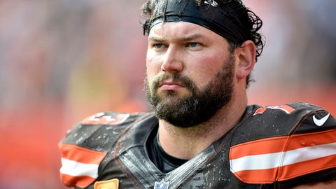 FILE - In this Oct. 22, 2017, file photo, Cleveland Browns offensive tackle Joe Thomas walks on the sideline during an NFL football game against the Tennessee Titans in Cleveland. Browns star left tackle Joe Thomas has retired after 11 seasons in the NFL, ending a career in which he exemplified durability, dependability and dominance. A 10-time Pro Bowler, Thomas announced his decision Wednesday, March 14, 2018,  after spending several months contemplating whether to come back following a season-ending injury. (AP Photo/David Richard, File)
