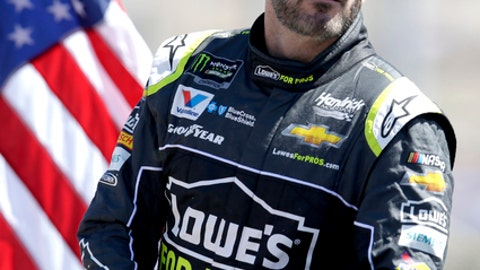 Monster Energy NASCAR Cup Series driver Jimmie Johnson (48) stands during a parade lep before a NASCAR Cup Series auto race on Sunday, March 11, 2018, in Avondale, Ariz. (AP Photo/Rick Scuteri)