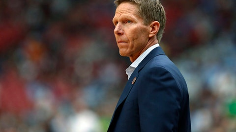 File-This April 1, 2017, file photo shows, Gonzaga head coach Mark Few arriving on there court before the semifinals of the Final Four NCAA college basketball tournament, in Glendale, Ariz.  Few said he has walked the fine line between using last year,  when the Zags finally made the Final Four after years of close calls, as fuel, without putting the burdens of the close call on a team that is fundamentally different. I needed to take a step back and be fair to them,'' Few said. ``Holding them to the standard of last year's team, it was probably very unfair for a couple of months there. I reached the point in January or February where I backed off and let them be who they are. They've definitely thrived with that. (AP Photo/Charlie Neibergall, File)