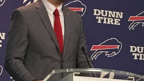 Quarterback A.J. McCarron speaks to the media after his arrival at Buffalo Bills headquarters in Orchard Park, N.Y., on Thursday, March 15, 2018, a day after agreeing to a two-year contract in the opening hours of the NFL's free-agency period. McCarron looks forward for the opportunity to compete for a starting job on his own terms in Buffalo, after spending the past four years working in Andy Dalton's shadow in Cincinnati. (AP Photo/John Wawrow)