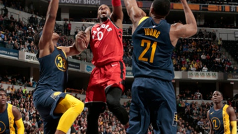 INDIANAPOLIS, IN - MARCH 15: CJ Miles #0 of the Toronto Raptors goes to the basket against the Indiana Pacers on March 15, 2018 at Bankers Life Fieldhouse in Indianapolis, Indiana. (Photo by Ron Hoskins/NBAE via Getty Images)