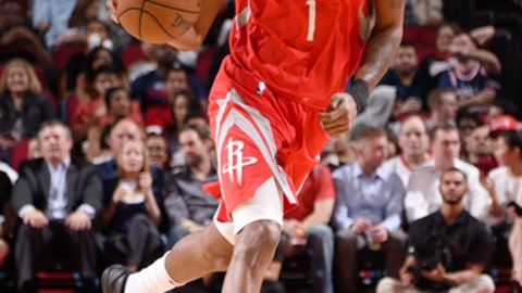 HOUSTON, TX - MARCH 15: Trevor Ariza #1 of the Houston Rockets handles the ball against the LA Clippers on March 15, 2018 at the Toyota Center in Houston, Texas. (Photo by Bill Baptist/NBAE via Getty Images)