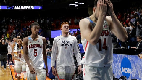 Arizona's Brandon Randolph (5) and Dusan Ristic (14) walk off the court with teammates after Arizona was upset by Buffalo, 89-68, in a first-round game of the NCAA men's college basketball tournament Thursday, March 15, 2018, in Boise, Idaho. (AP Photo/Ted S. Warren)