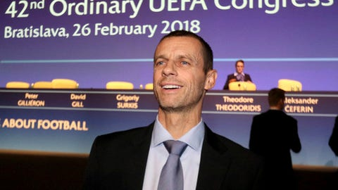 FILE - A Monday, Feb. 26, 2018 file photo of UEFA President Aleksander Ceferin before a press conference after the 42nd ordinary UEFA congress in Bratislava, Slovakia. UEFA said Friday March 16, 2018 that Ceferin earns a pre-tax salary of 1.56 million Swiss francs ($1.64 million). The disclosure Friday fulfills UEFAs 2016 promise to publish what it pays top officials. (AP Photo/Ronald Zak, File)