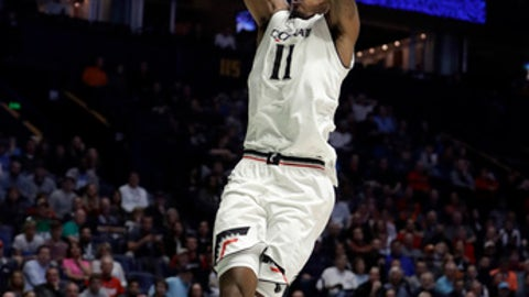 Cincinnati forward Gary Clark (11) slam dunks in the second half of a first-round game against Georgia State in the NCAA college basketball tournament in Nashville, Tenn., Friday, March 16, 2018. (AP Photo/Mark Humphrey)
