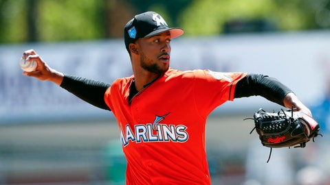Miami Marlins pitcher Sandy Alcantara delivers in the first inning of a spring training baseball game against the St. Louis Cardinals, Friday, March 16, 2018, in Jupiter, Fla. (AP Photo/John Bazemore)