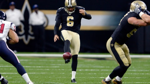 FILE - In this Aug. 26, 2017, file photo, New Orleans Saints' Thomas Morstead punts in the first half of the team's preseason NFL football game against the Houston Texans in New Orleans. Morstead says he has signed a new five-year, $20 million contract with the Saints. Morstead tells The Associated Press that his new contract begins in 2018, replacing the final year of his previous contract that was due to expire after next season. He says the deal guarantees $9 million over the first two seasons and includes the possibility for additional bonuses. (AP Photo/Bill Feig, File)