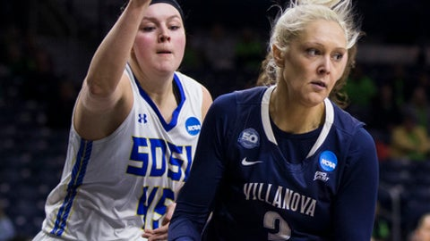 Villanova's Alex Louin (2) gets a rebound in front of South Dakota State's EllieThompson (45) during a first-round game in the NCAA women's college basketball tournament Friday, March 16, 2018, in South Bend, Ind. (AP Photo/Robert Franklin)