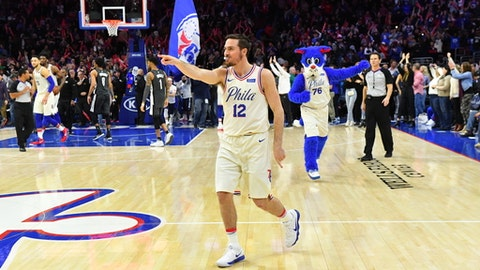 PHILADELPHIA, PA -  MARCH 16: T.J. McConnell #12 of the Philadelphia 76ers reacts after winning the game against the Brooklyn Nets at the Wells Fargo Center on March 16, 2018 in Philadelphia, Pennsylvania (Photo by Jesse D. Garrabrant/NBAE via Getty Images)