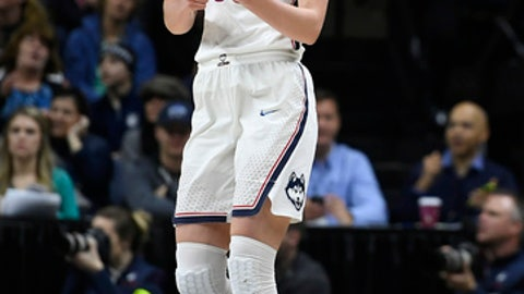 Connecticut's Katie Lou Samuelson (33) reacts at the end of the first half of a first-round game against Saint Francis (Pa.)  in the NCAA women's college basketball tournament in Storrs, Conn., Saturday, March 17, 2018. UConn has set the NCAA all-time record for points in a half with 94. (AP Photo/Jessica Hill)