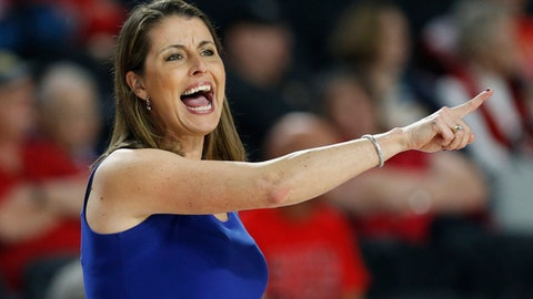 Duke coach Joanne P. McCallie yells out from the bench during the first half of a first-round game against Belmont in the NCAA women's college basketball tournament in Athens, Ga., Saturday, March. 17, 2018. (AP Photo/Joshua L. Jones)
